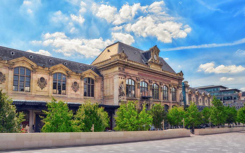 Paris, France - July 09, 2016 : Outdoor view beautiful city view of one of the most beautiful cities in the world - Paris.  Austerlitz Train Station in Paris.